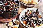 Steamed mussels and white bread Stock Photo - Premium Royalty-Free, Artist: Photocuisine, Code: 659-06188536