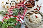 Rice, fresh herbs and spices for Tessin risotto Stock Photo - Premium Royalty-Free, Artist: Martin Ruegner, Code: 659-06188590