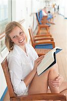 Teenage Girl Reading Book on Cruise Ship Deck Stock Photo - Premium Rights-Managednull, Code: 700-06190537