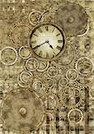 Wall Clock And Gears Stock Photo - Premium Royalty-Free, Artist: AlaskaStock, Code: 622-06190950