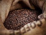 Coffee beans in burlap sack Stock Photo - Premium Royalty-Freenull, Code: 635-06191751