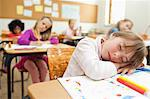 Girl taking a nap on her exercise book Stock Photo - Premium Royalty-Free, Artist: R. Ian Lloyd, Code: 6109-06196527