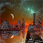 Alien city, computer artwork. Stock Photo - Premium Royalty-Free, Artist: Beyond Fotomedia, Code: 679-06198338