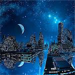 Alien city, computer artwork. Stock Photo - Premium Royalty-Free, Artist: Universal Images Group, Code: 679-06198347