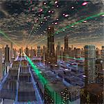Futuristic city, conceptual computer artwork. Stock Photo - Premium Royalty-Free, Artist: Beyond Fotomedia, Code: 679-06198350