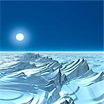 Icy alien planet, computer artwork. Stock Photo - Premium Royalty-Free, Artist: Robert Harding Images, Code: 679-06198365