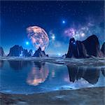Alien planet, computer artwork. Stock Photo - Premium Royalty-Free, Artist: Minden Pictures, Code: 679-06198371