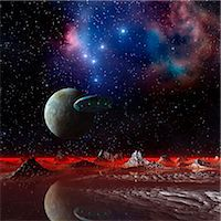 space - UFO over an alien planet, computer artwork. Stock Photo - Premium Royalty-Freenull, Code: 679-06198401