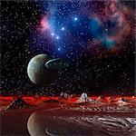 UFO over an alien planet, computer artwork. Stock Photo - Premium Royalty-Free, Artist: Ascent Xmedia, Code: 679-06198401