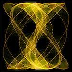 Computer artwork of a Lissajous figure or Bowditch curve, which is the graph of a system of parametric equations which describe complex harmonic motion. Stock Photo - Premium Royalty-Free, Artist: Science Faction, Code: 679-06199214