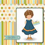 curly young girl she hide a gift Stock Photo - Royalty-Free, Artist: balasoiu                      , Code: 400-06199374