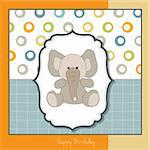 delicate greeting card with elephant Stock Photo - Royalty-Free, Artist: balasoiu                      , Code: 400-06199391