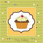 birthday card with cupcake Stock Photo - Royalty-Free, Artist: balasoiu                      , Code: 400-06199651