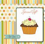 birthday card with cupcake Stock Photo - Royalty-Free, Artist: balasoiu                      , Code: 400-06199655