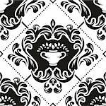 Black and white floral damask wallpaper pattern Stock Photo - Royalty-Free, Artist: weit                          , Code: 400-06199689