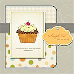 birthday card with cupcake Stock Photo - Royalty-Free, Artist: balasoiu                      , Code: 400-06199721