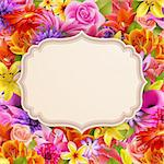 Card with place for text on flower background. Vector illustration. Stock Photo - Royalty-Free, Artist: avian                         , Code: 400-06199835