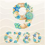 Numbers, vector sea life font on sand background. Check my portfolio for letters. Stock Photo - Royalty-Free, Artist: avian                         , Code: 400-06199865
