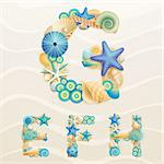 Vector sea life font on sand background. Check my portfolio for other letters, and numbers. Stock Photo - Royalty-Free, Artist: avian                         , Code: 400-06199867