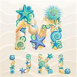 Vector sea life font on sand background. Check my portfolio for other letters, and numbers. Stock Photo - Royalty-Free, Artist: avian                         , Code: 400-06199868