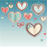 Valentine`s Day vintage card with lacy paper hearts in the blue sky. Stock Photo - Royalty-Free, Artist: avian                         , Code: 400-06199874
