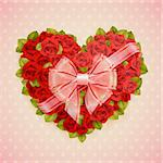 Valentine`s Day card with roses heart and place for text. Stock Photo - Royalty-Free, Artist: avian                         , Code: 400-06199878