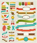 Set of retro ribbons and labels. Vector illustration. Stock Photo - Royalty-Free, Artist: avian                         , Code: 400-06199879