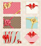 Bows Collection with vintage greeting cards. Vector illustration. Stock Photo - Royalty-Free, Artist: avian                         , Code: 400-06199892