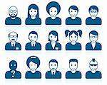 Simple people avatars with different style and hairdo Stock Photo - Royalty-Free, Artist: lazarev                       , Code: 400-06199921