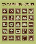 A set of 25 camping related icons. Stock Photo - Royalty-Free, Artist: malexandric                   , Code: 400-06200239