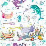 hand drawn pattern with sea creatures swimming underwater, colored doodles over white