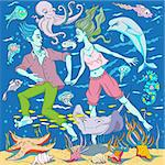 hand drawn fairy tale image of a young man and a young woman, underwater swimming among sea creatures