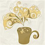 vector stylized cup of coffee with bubbles and steam on crumpled paper texture, eps 10, mesh Stock Photo - Royalty-Free, Artist: alexmakarova                  , Code: 400-06200599