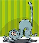 Cartoon Illustration of Stretching Happy Gray Cat Stock Photo - Royalty-Free, Artist: izakowski                     , Code: 400-06200781