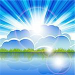 Illustration, summer landscape in bright sunbeams and horizon Stock Photo - Royalty-Free, Artist: Brux                          , Code: 400-06200813