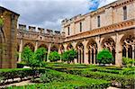 view of the cloister of Monastery of Santa Maria de Santes Creus, Spain Stock Photo - Royalty-Free, Artist: nito                          , Code: 400-06201259