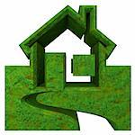 House Icon in grass - 3d made Stock Photo - Royalty-Free, Artist: fambros                       , Code: 400-06201578