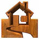 House Icon in wood - 3d made Stock Photo - Royalty-Free, Artist: fambros                       , Code: 400-06201580