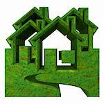 House Icon in grass - 3d made Stock Photo - Royalty-Free, Artist: fambros                       , Code: 400-06201581