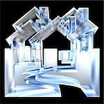 House Icon in glass - 3d made Stock Photo - Royalty-Free, Artist: fambros                       , Code: 400-06201582