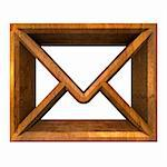 envelope email symbol in wood (3d made)