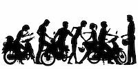 Editable vector silhouettes of a young motorcycle gang with all people and scooters as separate objects Stock Photo - Royalty-Freenull, Code: 400-06204296