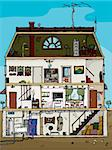 3-story old house cartoon cross section with basement Stock Photo - Royalty-Free, Artist: theblackrhino                 , Code: 400-06205720