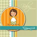 delicate girl shower card Stock Photo - Royalty-Free, Artist: balasoiu                      , Code: 400-06207635