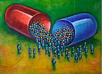 Illustration of Large Capsule Pill with a Crowd of People Gathered around the Pill Stock Photo - Premium Royalty-Free, Artist: James Wardell, Code: 600-06282085