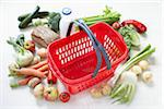 Grocery Basket and Food Stock Photo - Premium Royalty-Free, Artist: photo division, Code: 600-06302246