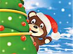 Teddy Bear Waving from behind Christmas Tree Stock Photo - Premium Rights-Managed, Artist: Anna Huber, Code: 700-06302304
