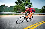 Cyclist Rounding a Bend Stock Photo - Premium Rights-Managed, Artist: ableimages, Code: 822-06302346
