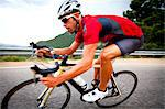 Cyclist Rounding a Bend Stock Photo - Premium Rights-Managed, Artist: ableimages, Code: 822-06302349