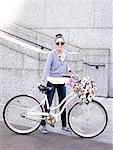 Woman with Small Dog Pushing Bicycle Stock Photo - Premium Rights-Managed, Artist: ableimages, Code: 822-06302472
